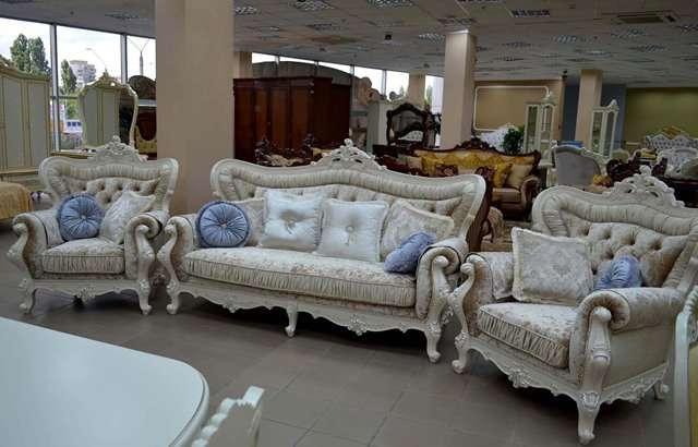 Комплект мягкой мебели, стиль Барокко, цвет белый