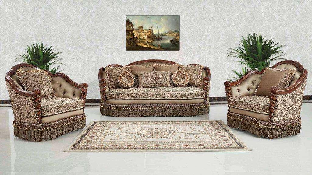 Резной классический диван Аристократ с деревянными подлокотниками