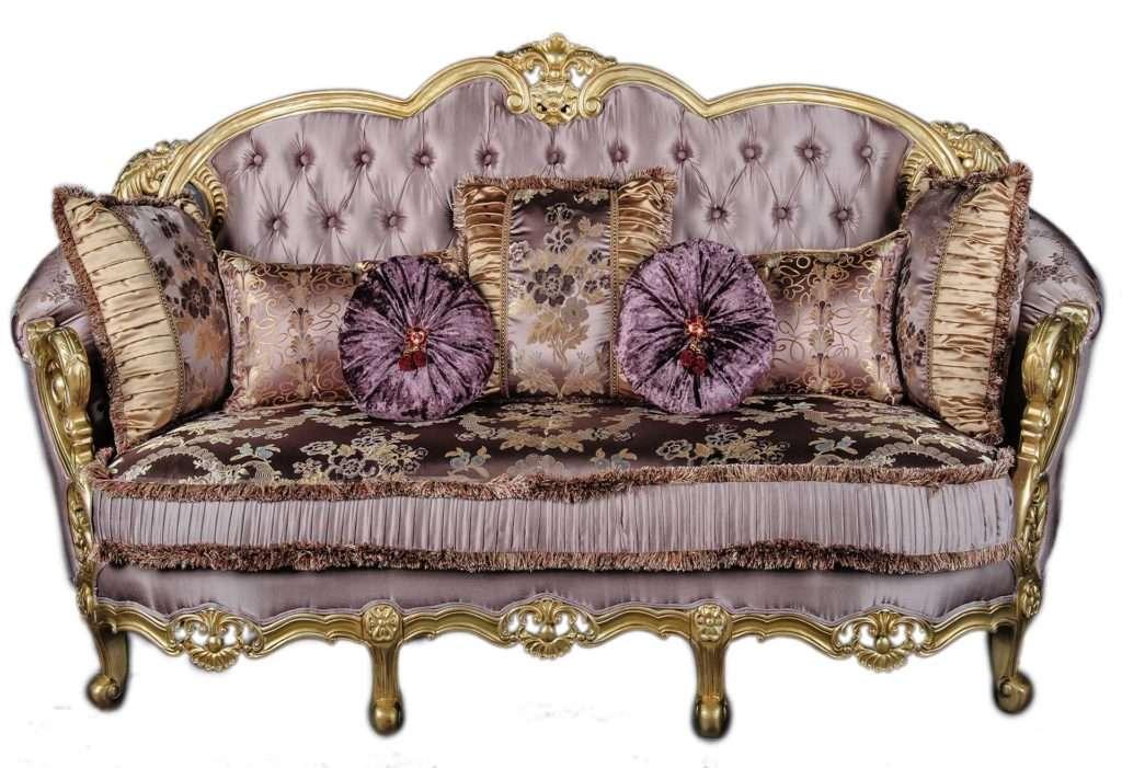 Трехместный диван Даная с золотом и сиреневой обивкой
