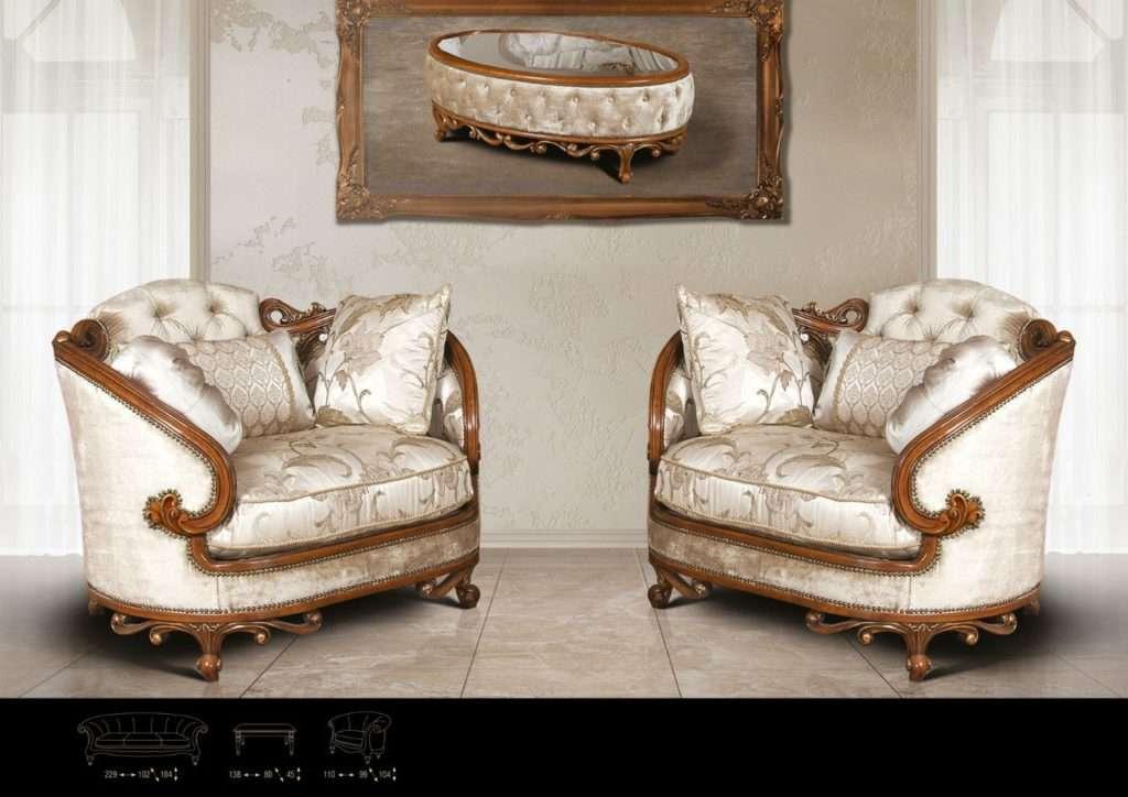 два кресла классического стиля с темным деревом ORCHID
