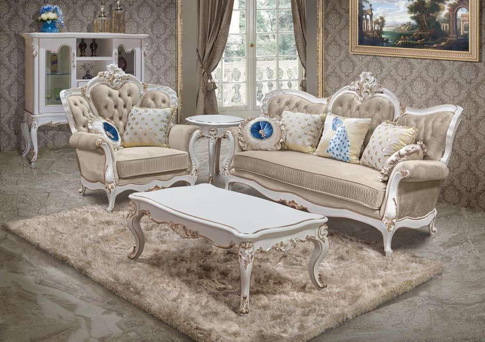 комплект классической мебели в светлых тонах с резным декором