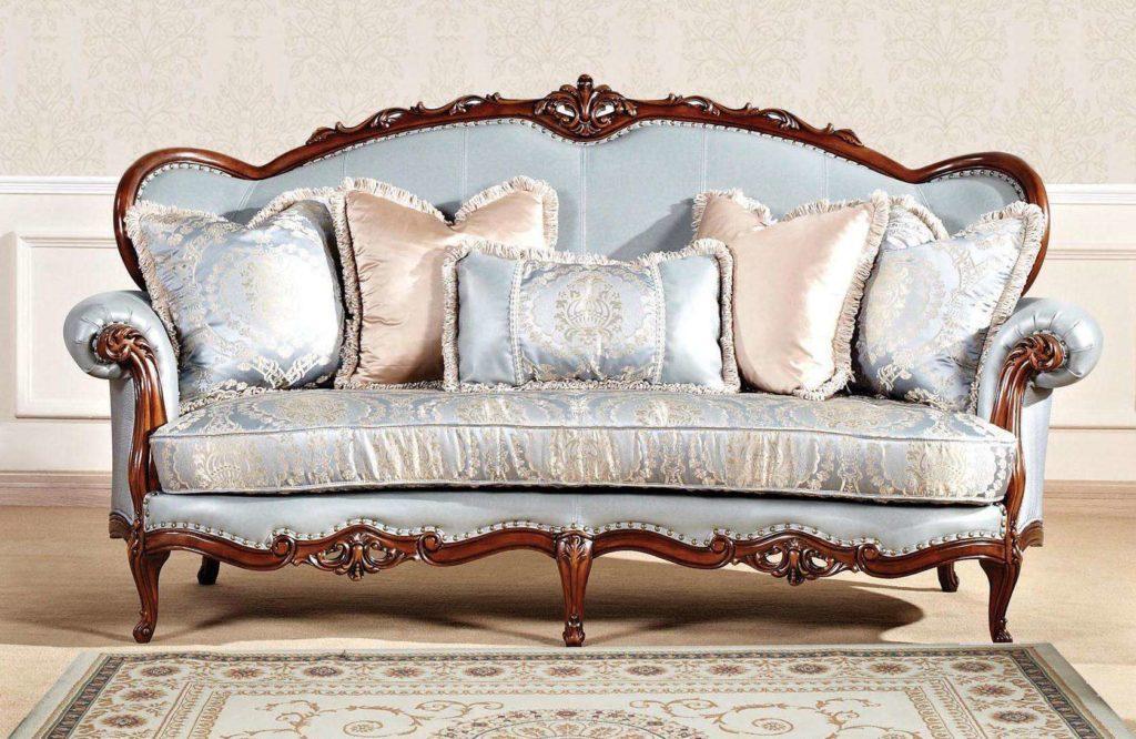 Синий классический диван с креслами Горацио