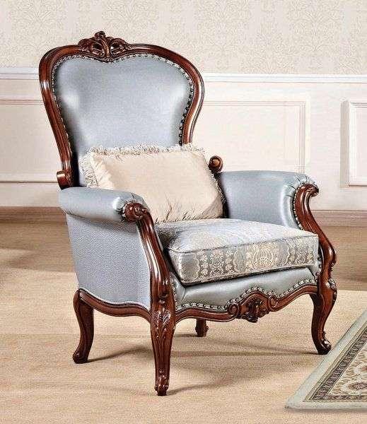 Синее кресло в стиле ампир Горацио. Беллини