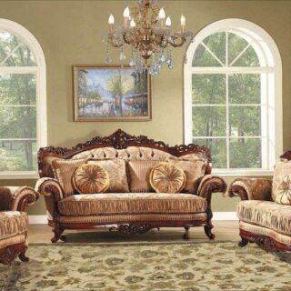 Классический мягкий комплект мебели Милорд в золотой обивке.