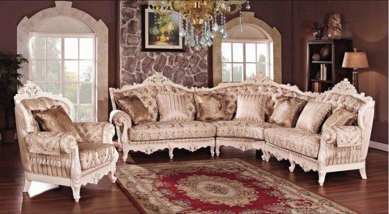 Белый угловой диван Олимп с позолотой. Беллини