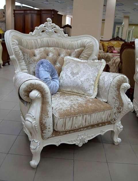Белое резное кресло Идальго. Серебро