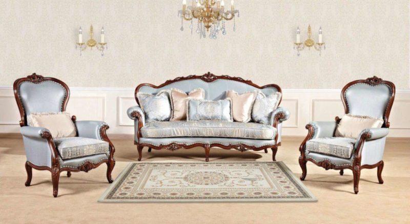 Синий мягкий комплект мебели Горацио