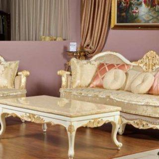 Белый золотой королевский диван Рамирес