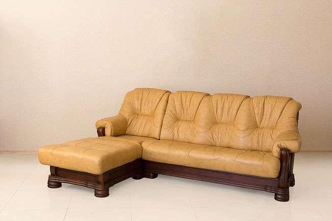 Желтый кожаный диван амстердам