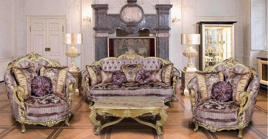 Элитная мягкая мебель Селина от производителя Импереал в гостиную комнату в стиле Барокко с изогнутыми формами и оригинальной обивкой