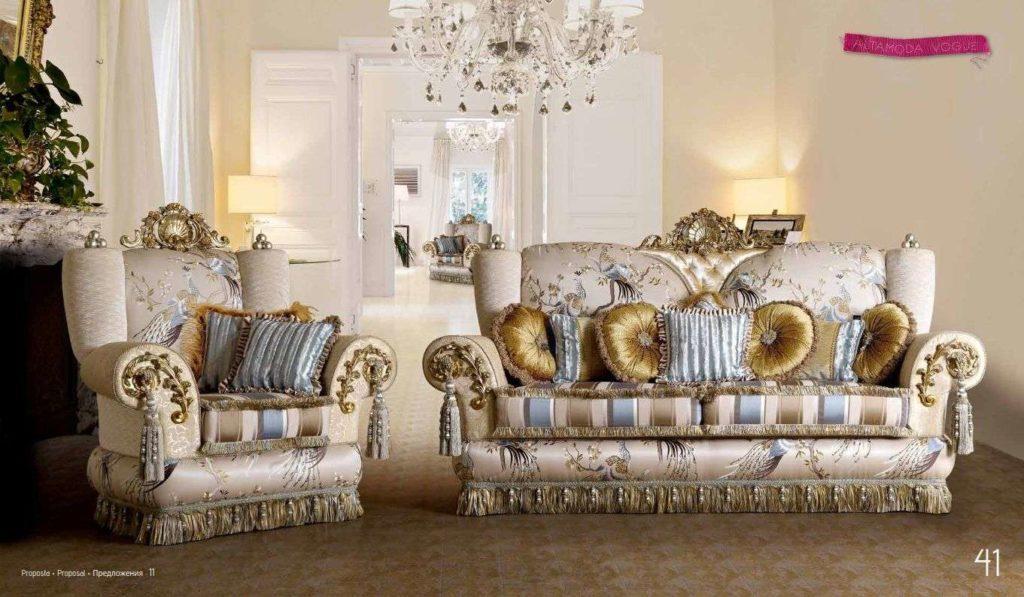 Светлый дорогой классический королевский диван Шанель