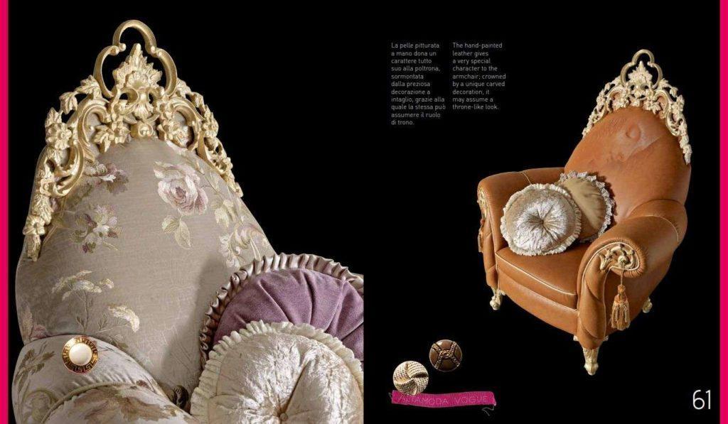Резные спинки итальянской мебели от фабрики Альта Мода