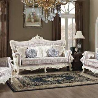 Белый диван в серебре Идальго в стиле ампир. Беллини