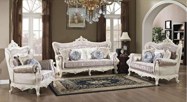 Белая богатая резная мебель Идальго