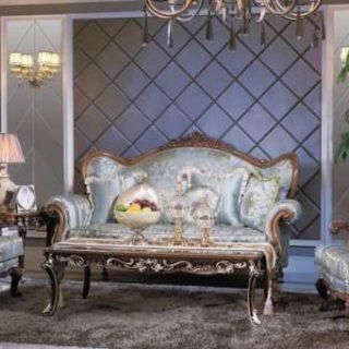 Классический диван Казанова в синей богатой обивке.