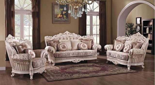 Белый резной мягкий комплект мебель люкс-класса