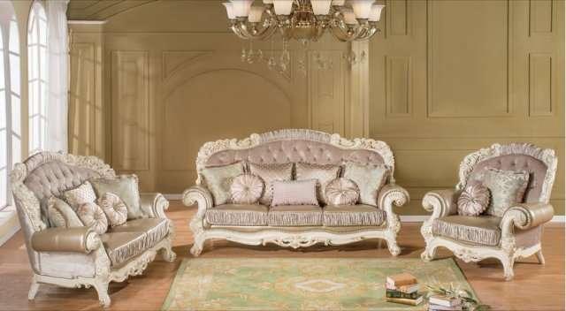 Белая классическая резная мебель элит класса Романо.