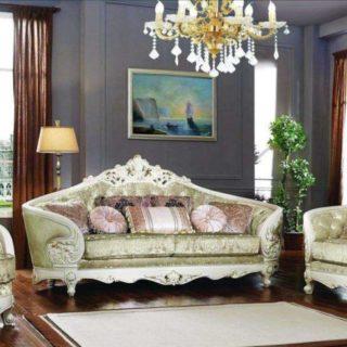 Большой радиусный белый диван с креслами Пегас