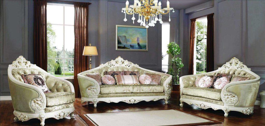 Резной белый радиусный комплект мебели Пегас.
