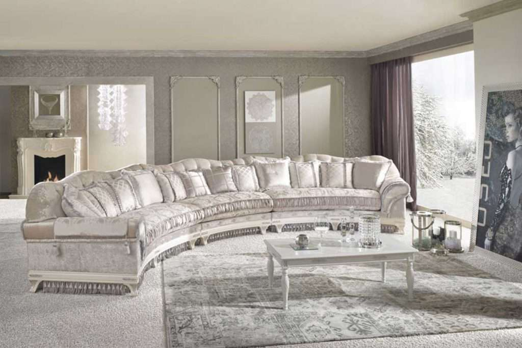 CRISTINA COMPONIBILE - радиусный итальянский большой диван в светлых тонах