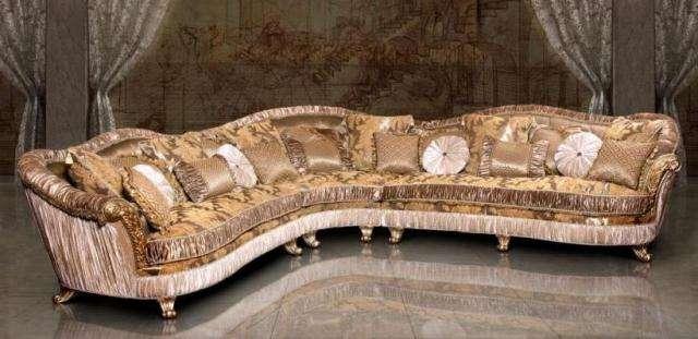 Классический угловой диван Лувр в золоте
