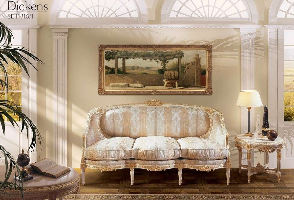 Классический диван с золотом Luigi XVI Dickens от Angelo Cappellini