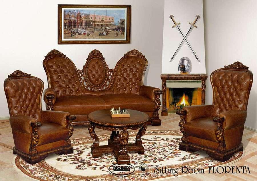 Элитная мягкая мебель из массива и кожи Флоренца. Румыния.