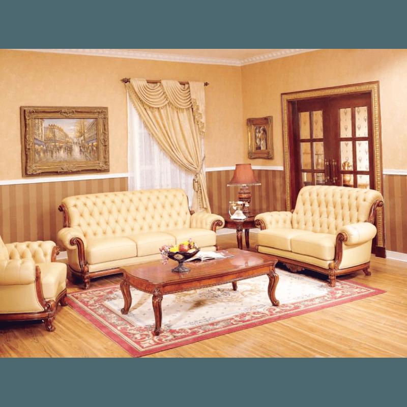 Классический кожаный диван Carpenter 221 A с каретной стяжкой.