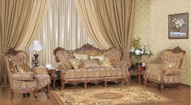 Резной диван Империал в интерьер гостиной комнаты