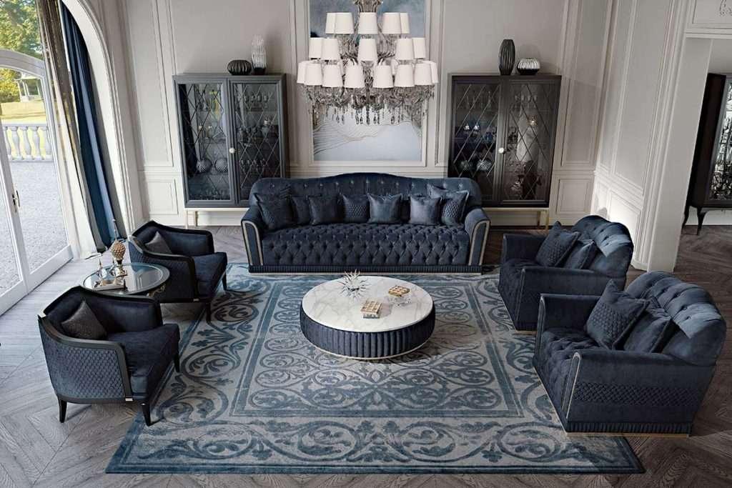 melania - диван и кресла в синем цвете от итальянской Фабрики