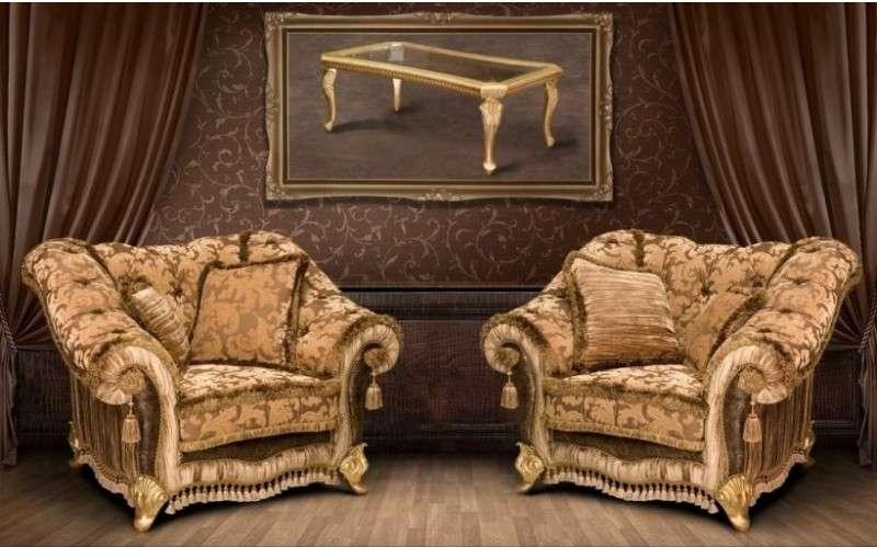 Комплект классических кресел и столик журнальный Портос