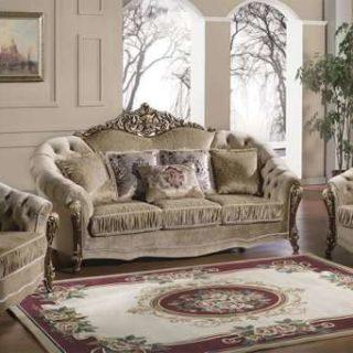 Классический резной диван с креслами в гостиную Прометей