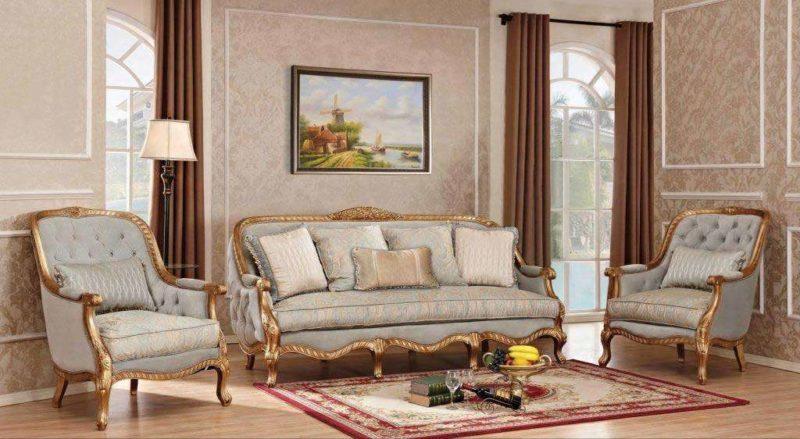 Классическая мягкая мебель Сильвио в цвете золотой антик