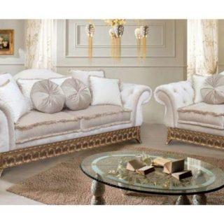 Большой белый глубокий диван с золотом Версаль