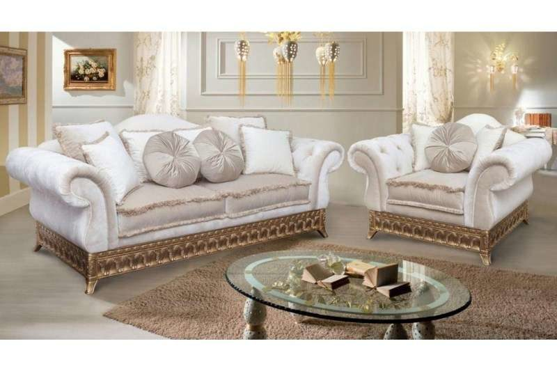 Классический белый диван с золотом Версаль