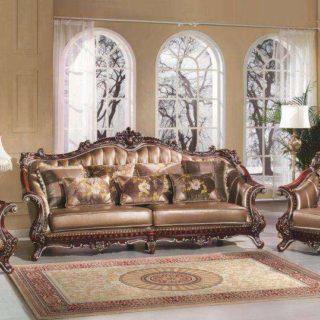 Большой кожаный коричневый классический диван Султан