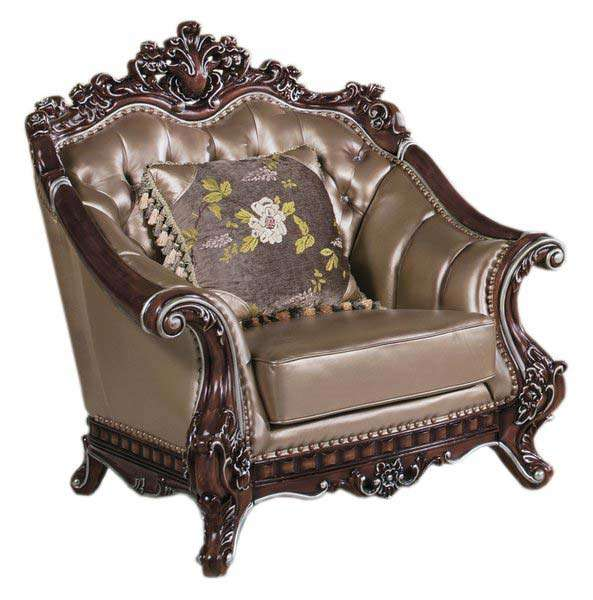 Глубокое кожаное классическое кресло Султан