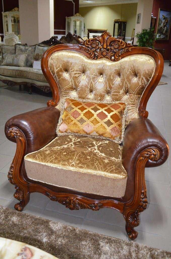 Резное кресло с элементами кожи Канцлер