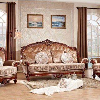 Царский классический резной коричневый диван Цезарь.