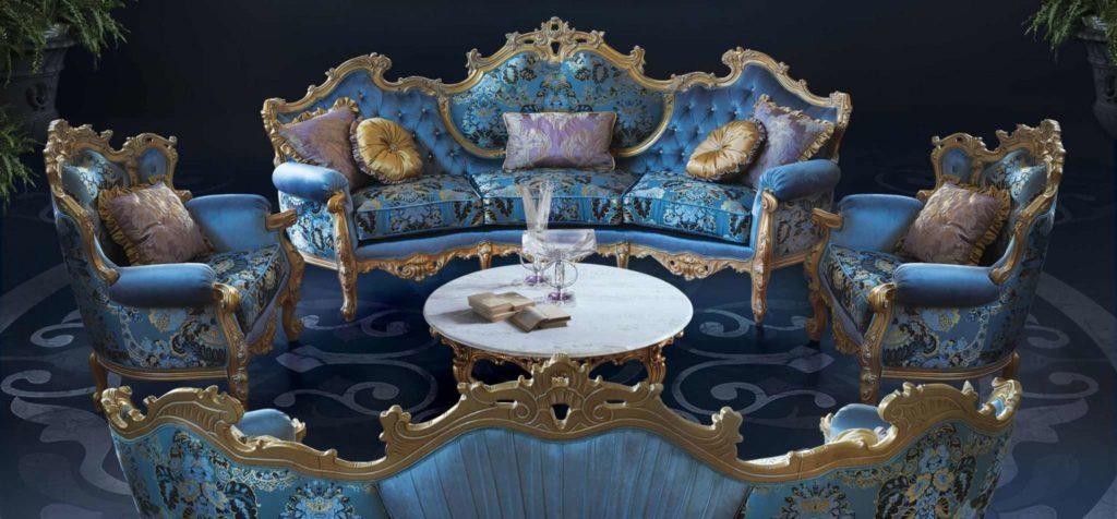 Богатый радиальный итальянский диван в золоте Миллионер
