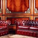Кожаный диван 2757 со спинкой в каретной стяжке. CEPPI STYLE