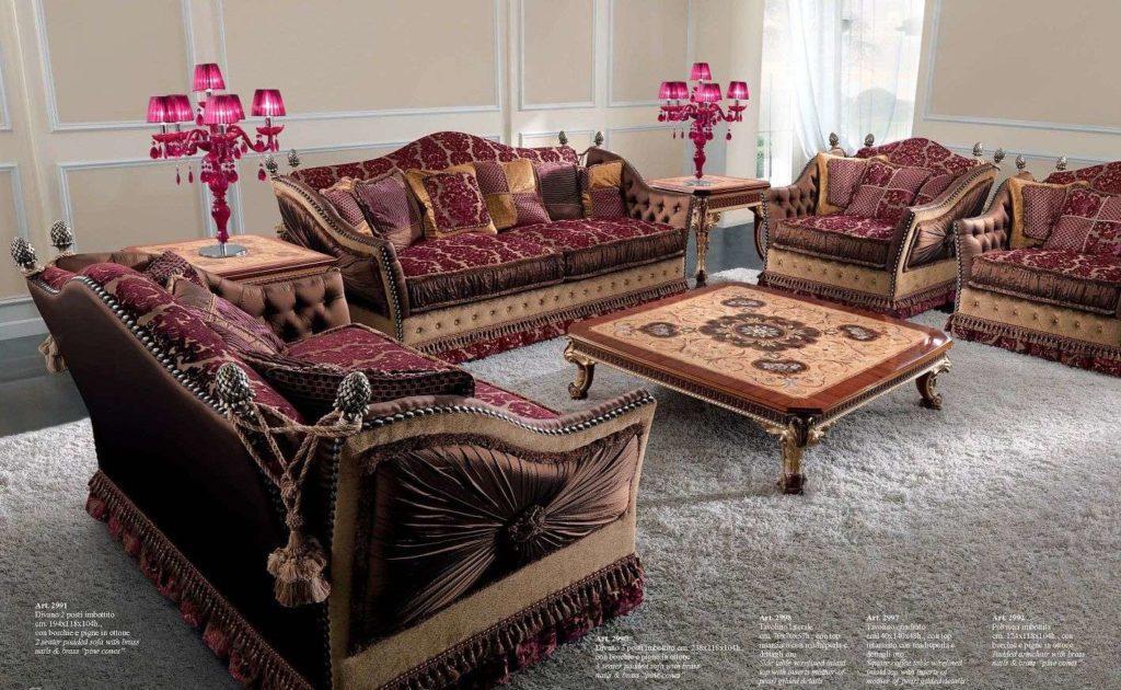 Дорогой комплект итальянской элитной мягкой мебели 2991 в красном цвете