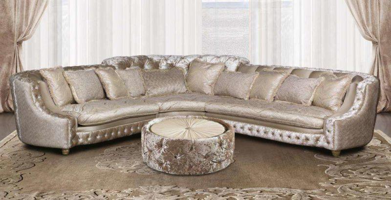 Классический большой белый угловой диван Панамера. Америка