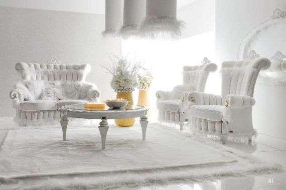 Королевский белый диван с креслами Тиффани, Альта Мода