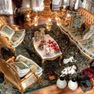 Золотой диван Luretina. Итальянская фабрика Asnaghi Interiors