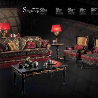 Дорогой элитный черно-красный диван Сивилья в стиле Арт-Деко. Италия.