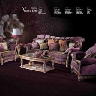 Дорогой сиреневый диван с креслами Венеция. Италия