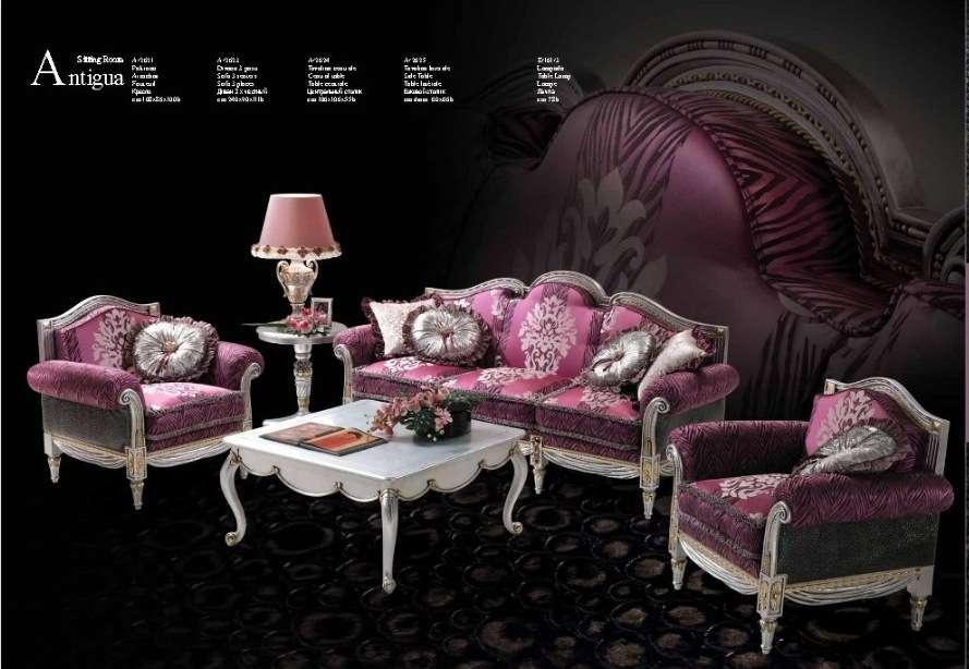 Дорогая мягкая мебель Антиква в стиле барокко в розовом цвете. Италия