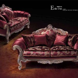 Дорогой красный небольшой диван EOLIE DUE под старину