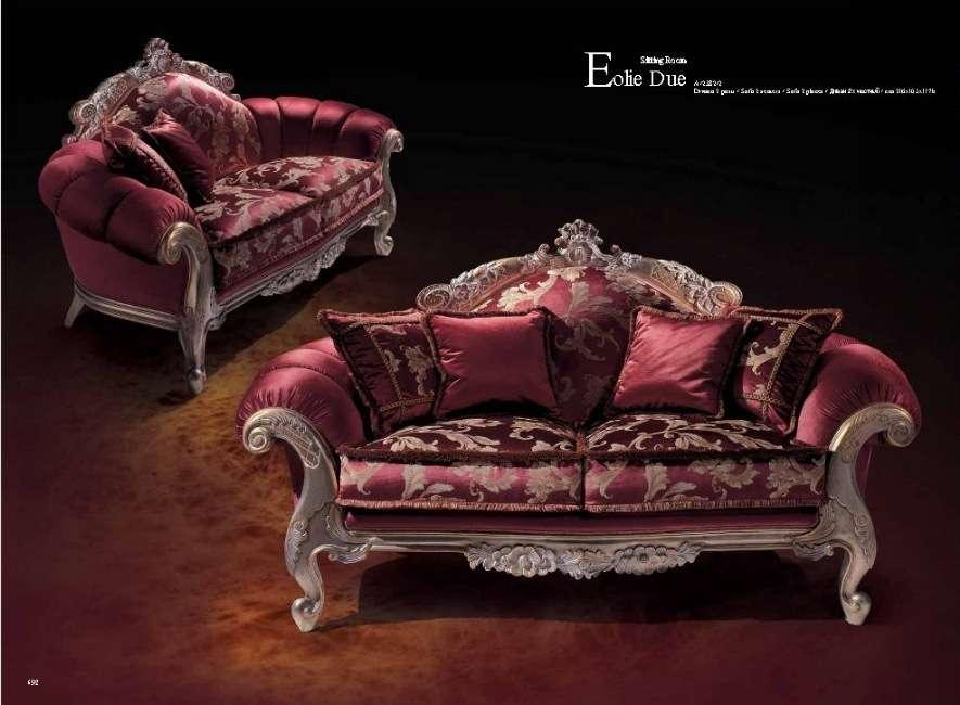 Красный двухместный диван в стиле Прованс.